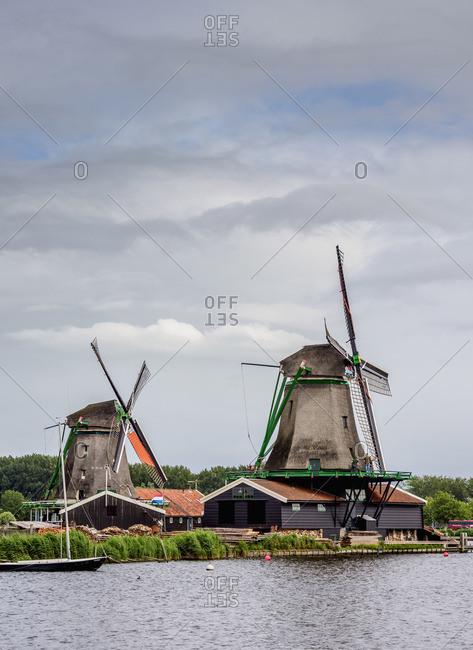 July 29, 2017: Windmills in Zaanse Schans, Zaandam, North Holland, The Netherlands