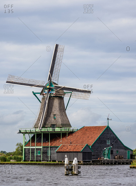 July 29, 2017: Windmill in Zaanse Schans, Zaandam, North Holland, The Netherlands