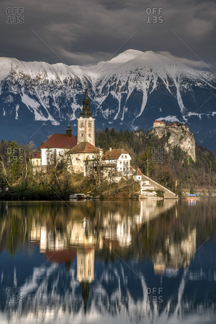 Afternoon sunlight over Church of the Assumption of Mary, Lake Bled, Upper Carniola, Slovenia