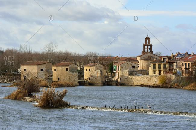 The watermills of Zamora along the Douro river. Castilla y Leon, Spain