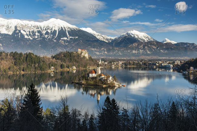 Top view over Lake Bled, Upper Carniola, Slovenia