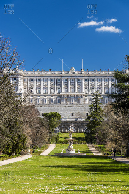 Campo del Moro park with Royal Palace of Madrid or Palacio Real de Madrid in the background, Madrid, Community of Madrid, Spain