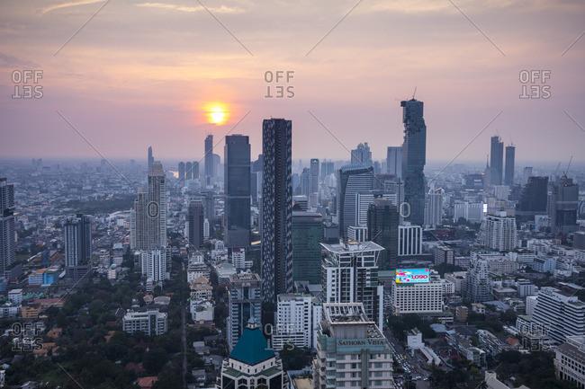 January 25, 2018: Silom and Sathorn skyline, Bangkok, Thailand