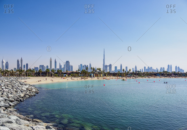 January 6, 2018: Jumeirah Beach and the city skyline, Dubai, United Arab Emirates