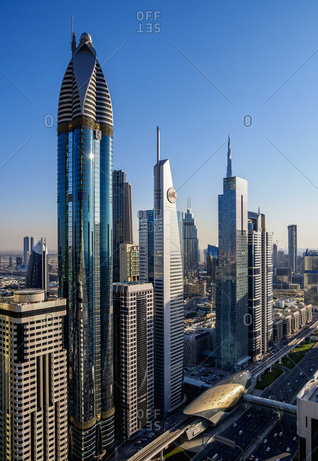 January 11, 2018: Dubai International Financial Centre, elevated view, Dubai, United Arab Emirates