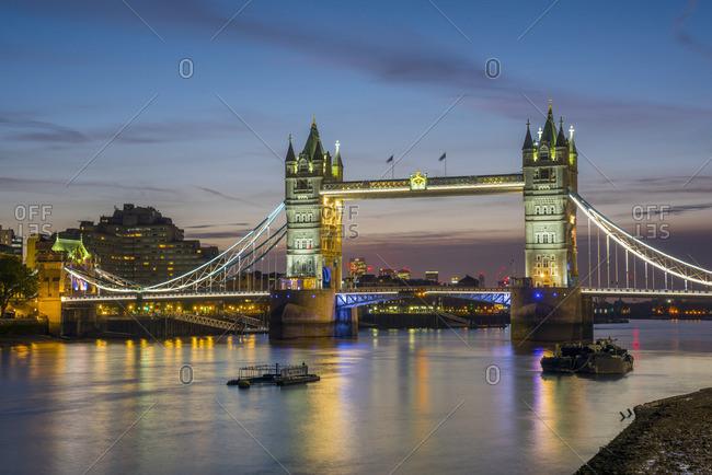February 26, 2018: UK, England, London, Tower Bridge over River Thames