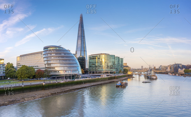 February 26, 2018: UK, England, London, Southwark, The Shard and City Hall by River Thames