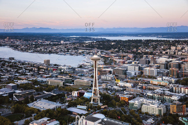 September 11, 2017: Aerial view of the Space Needle at sunset, Seattle, Washington, USA