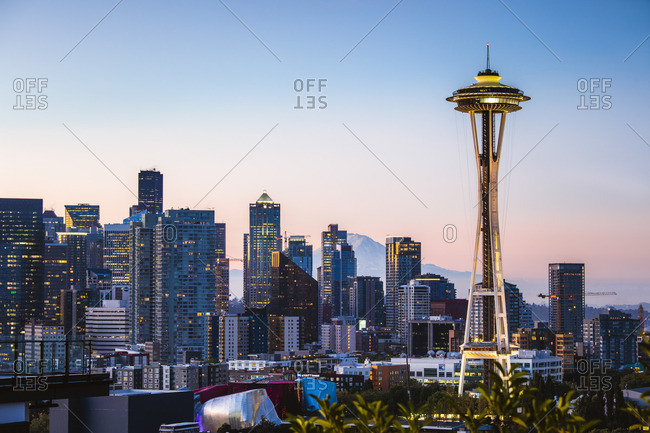 September 11, 2017: The Space Needle and skyline at dawn, Seattle, Washington, USA