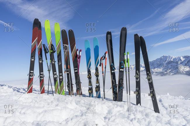 View of ski and ski pole in snow, Bavaria, Germany, Europe