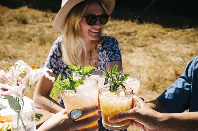 Male and female friends toasting drinks in yard during summer party