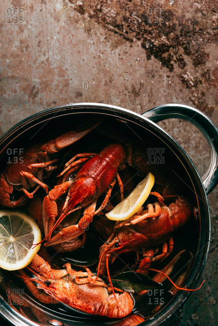 Elevated view of pile of crayfishes with lemon slices and bay leaf in saucepan