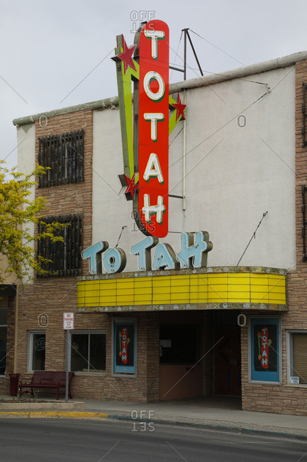 Farmington, New Mexico - April 28, 2018: Vintage sign on old movie theater