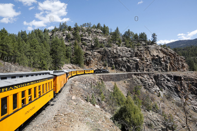 Durango, Colorado - April 30, 2018: Museum train driving around mountain track