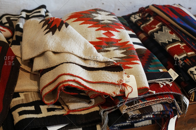 Ganado, Arizona - April 26, 2018: Folded blankets at Hubbel Trading Post