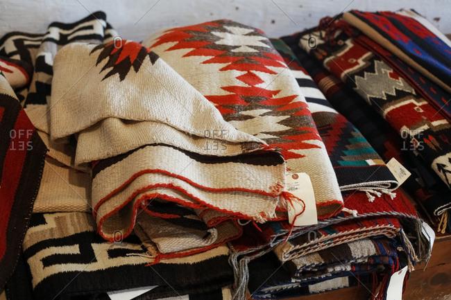 Ganado, Arizona - April 26, 2018: Folded blankets at Hubbel Trading Post