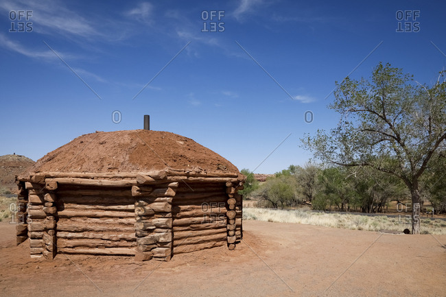 Canyon de Chelley, Arizona - April 26, 2018: Navajo Nation house exterior on sunny day