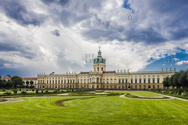 Berlin, Germany - July 10, 2014: Schloss Charlottenburg, Charlottenburg Palace, the Alte Schloss (Old Castle), the largest palace in Berlin as seen from the garden