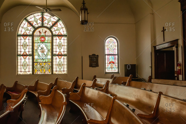 Illinois - July 12, 2016: Interior of a small town church