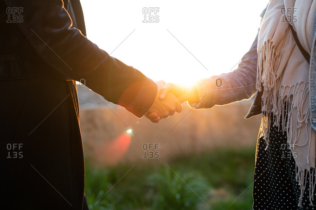 Young businesswomen shaking hands after a meeting