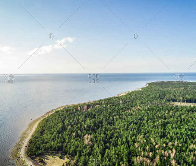Aerial scenic view of coastline on the island of Vormsi in Estonia, surrounded by beautiful Baltic Sea