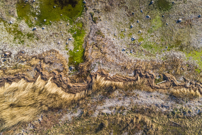 Abstract aerial view of algae beach at wintertime in Forby on the island of Vormsi in Estonia