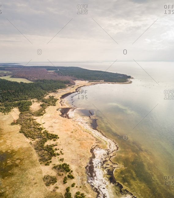 Aerial view of coastline of Vormsi island in Estonia