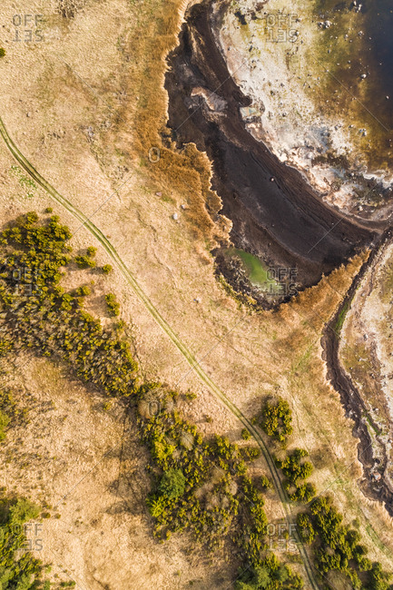 Abstract aerial view of empty dirt road next to algae beach on coastline in Estonia