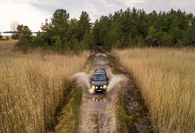 Aerial view of black car splashing water while driving through puddle on the dirt road surrounded by reed in Estonia