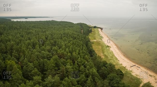 Panoramic aerial view of the coast of island Vormsi in Estonia