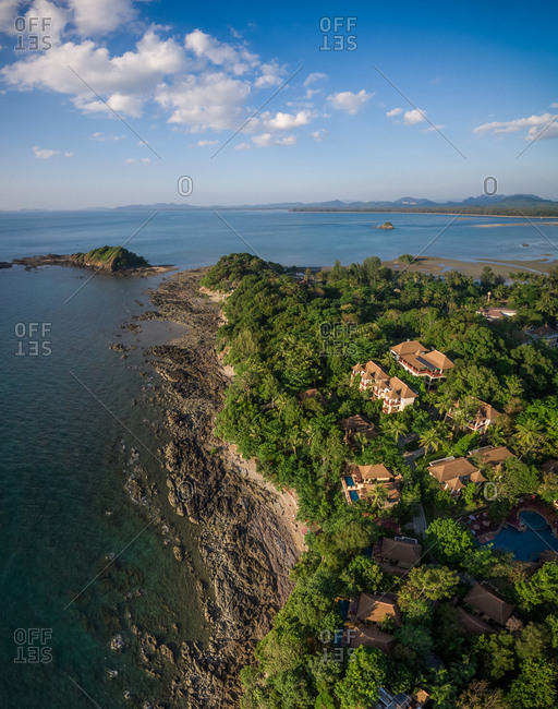 Aerial view of the modern villas on the coast of Koh Lanta island, Thailand.
