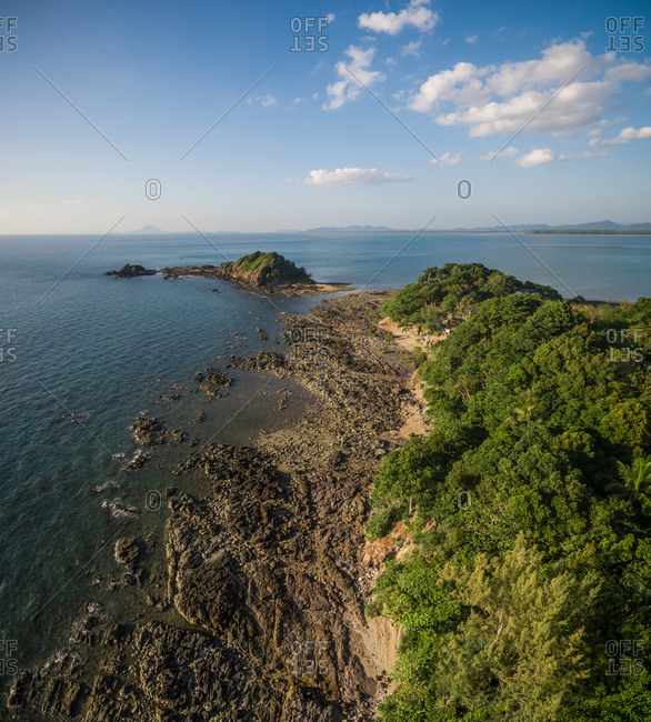 Aerial view of the rocky coast of Koh Lanta island, Thailand.