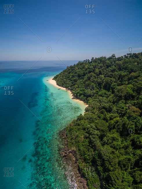 Aerial view of beautiful bay at Koh Rok Yai Beach island in Thailand.