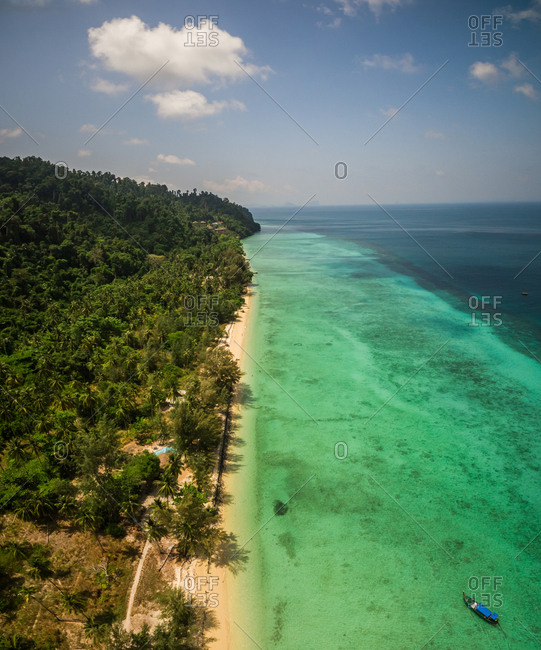 Aerial view of Chao Mai National Park idyllic coast in Thailand.