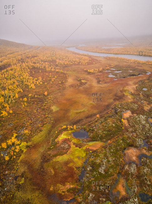Aerial view of beautiful abstract landscape in the reserve of Kasivarsi Wilderness Area in Finland.