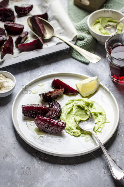 Oven baked beetroot with avocado salsa