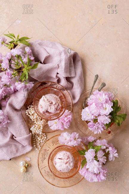 Strawberry Ice Cream alongside spring blossom