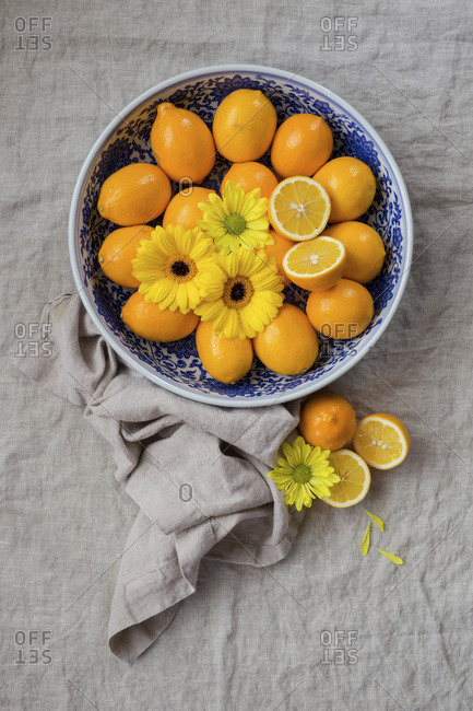 Meyers Lemons on a table