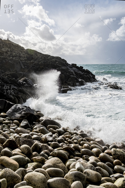 Cot Valley and coastline at Porth Nanven Cove on the West Cornwall coast Waves crashing on the shore