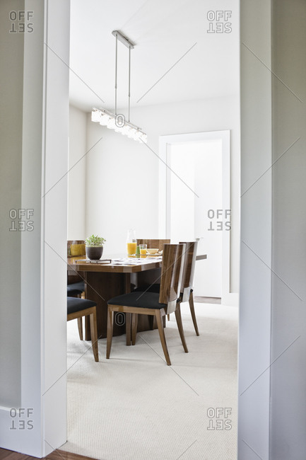 Dining room table in a new home