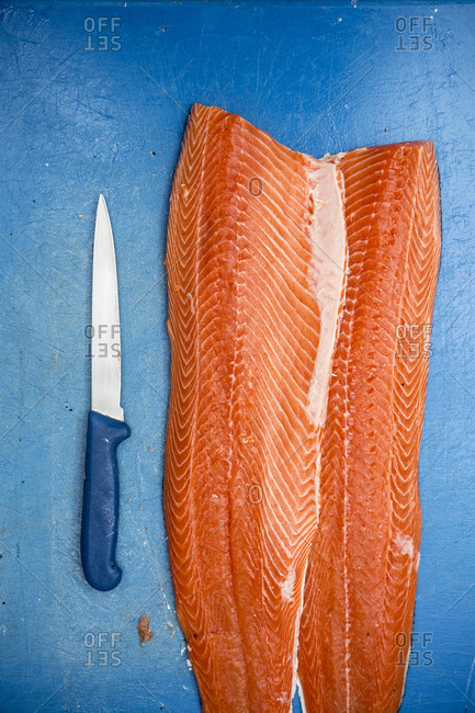 High angle close up of fillets of fresh salmon and knife on blue chopping board