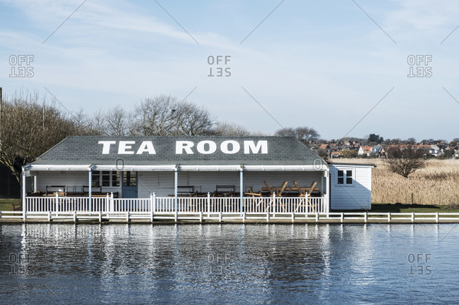 Exterior view of tea room on the shore of a lake