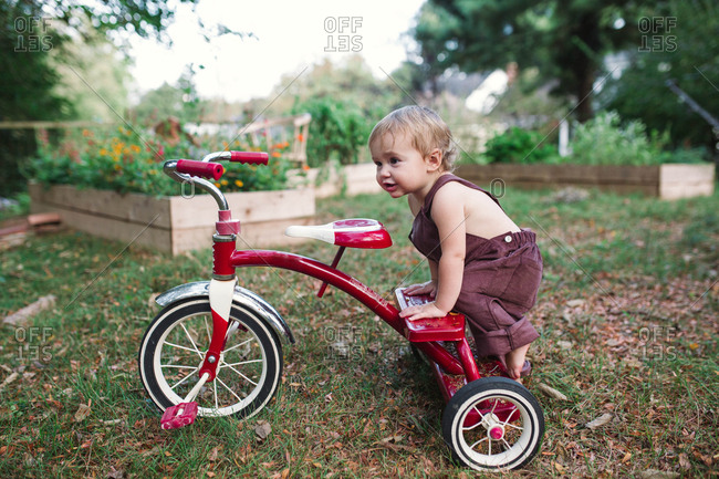 Small toddler climbing off tricycle in rural garden