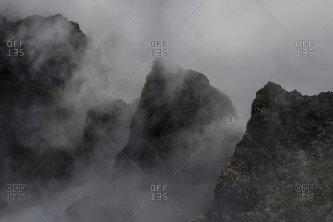 Fog covering the mountains around Pico Ruivo, Madeira, Portugal
