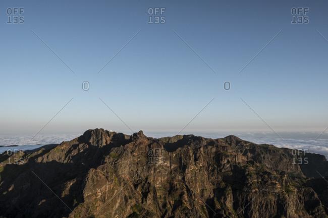 Pico do Areeiro as seen from Pico Ruivo, Madeira, Portugal
