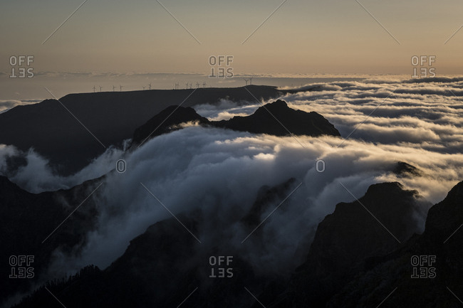 Clouds surrounding the peaks of Madeira, Portugal at dusk