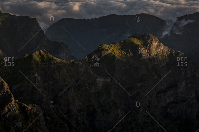 Peaks of Madeira, Portugal at the end of day