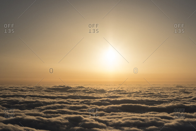 Sunset over the clouds as seen from Pico Ruivo, Madeira, Portugal