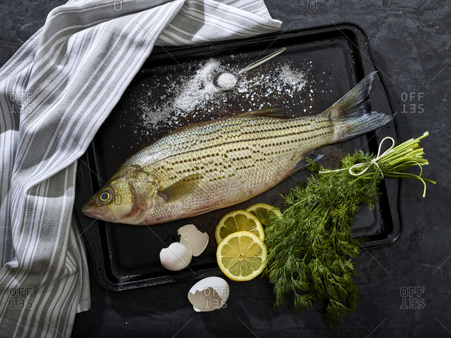 Preparing a striped sea bass with skin on