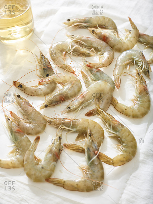 Preparing shrimp for a meal